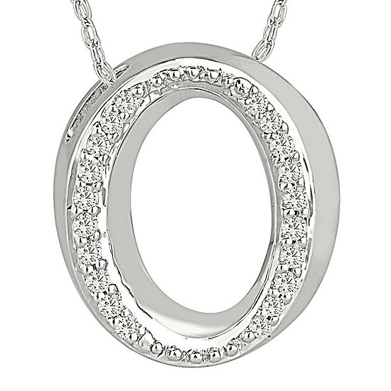 1 7 Ct Tw Diamond Sterling Silver Initial O Pendant Necklace