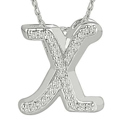 1/7 C.T. TW. Diamond Sterling Silver X Pendant
