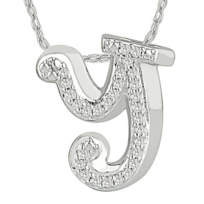 1/7 C.T. TW. Diamond Sterling Silver Y Pendant