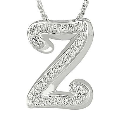 1/7 C.T. TW. Diamond Sterling Silver Z Pendant