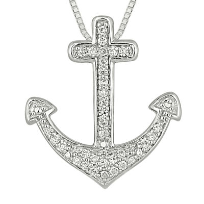 1/4 CT. T.W. Diamond Sterling Silver Cross Anchor Pendant Necklace