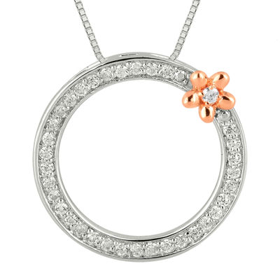 1/4 CT. T.W. Diamond Circle and Flower Pendant Necklace