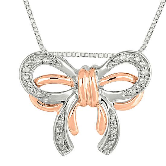 1 8 Ct Tw Diamond Bow Pendant Necklace