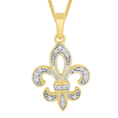 1/10 CT. T.W. Diamond Fleur-de-Lis Pendant Necklace