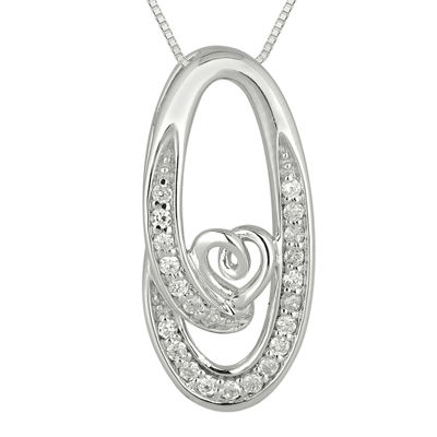 1/6 CT. T.W. Diamond Sterling Silver Heart Circle Pendant Necklace