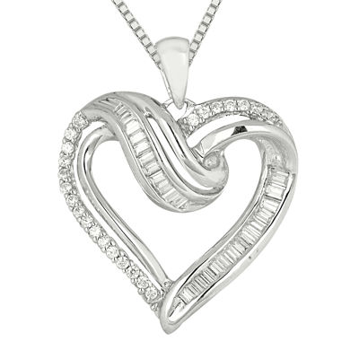 1/3 C.T. TW Diamond Sterling Silver Heart Pendant Necklace