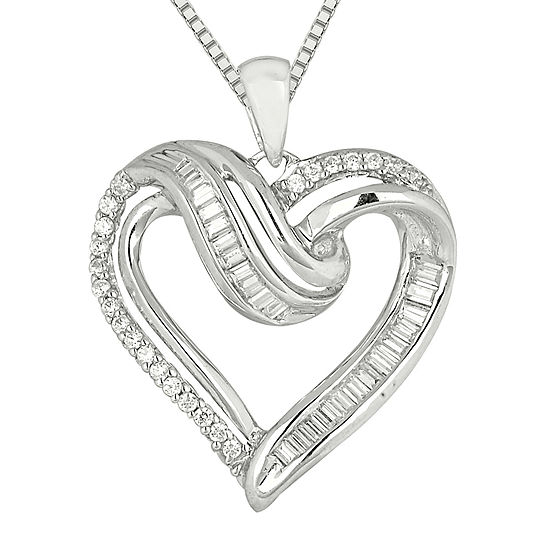 1 3 Ct Tw Diamond Sterling Silver Heart Pendant Necklace