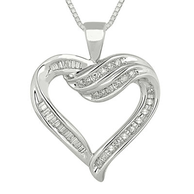 1/3 CT. T.W. Diamond Sterling Silver Heart Pendant Necklace