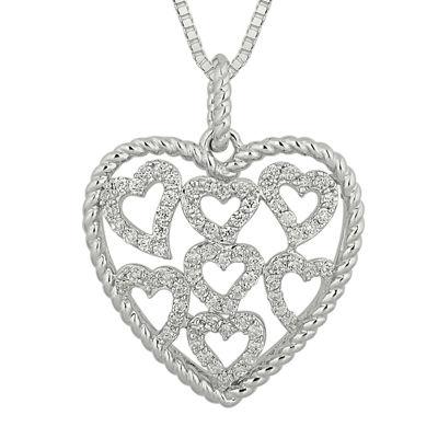 1/2 CT. T.W. Diamond Sterling Silver Heart Pendant Necklace