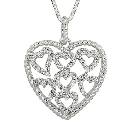 1 2 Ct Tw Diamond Sterling Silver Heart Pendant Necklace