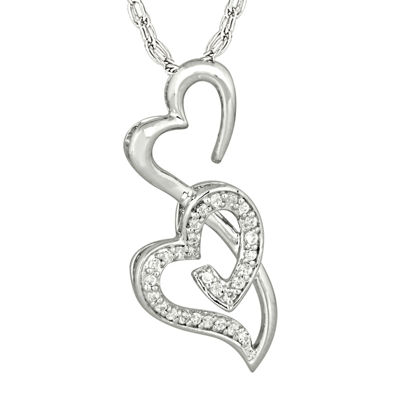 1/6 CT. T.W. Diamond Sterling Silver Double Heart Pendant Necklace