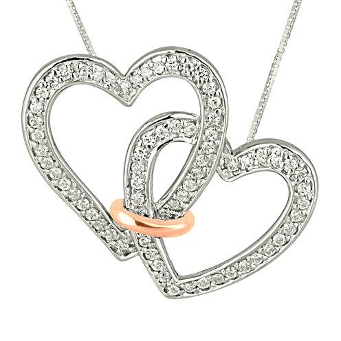 1/3 CT. T.W. Diamond Connected Double Heart Pendant Necklace