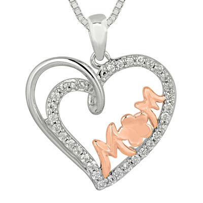 1/5 CT. T.W. Diamond 10K Rose Gold Over Silver Mom Heart Pendant Necklace