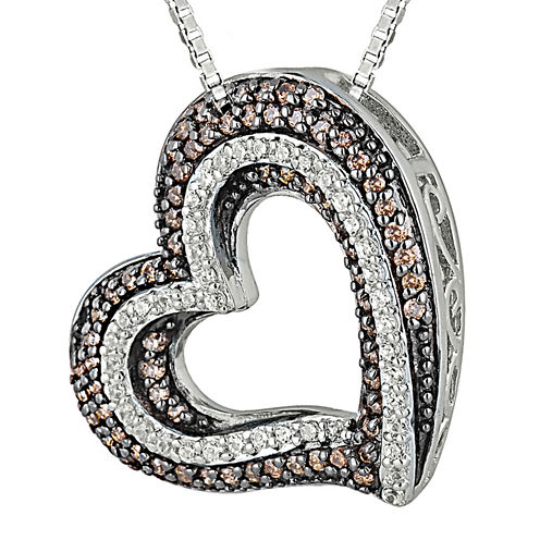 1/2 CT. T.W. White & Champagne Diamond Sterling Silver Heart Pendant Necklace