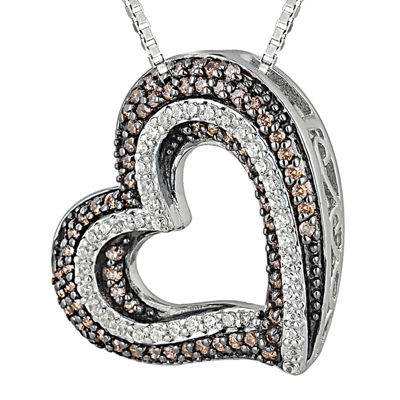 1/2 CT. T.W. White & Champagne Diamond Sterling Silver Heart Pendant Necklace