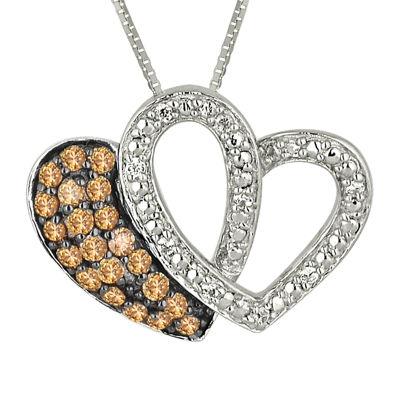 1/4 CT. T.W. White & Champagne Diamond Sterling Silver Double Heart Pendant