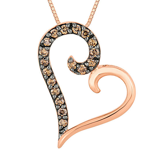 1 4 Ct Tw Champagne Diamond 10k Rose Gold Over Silver Heart Pendant Necklace