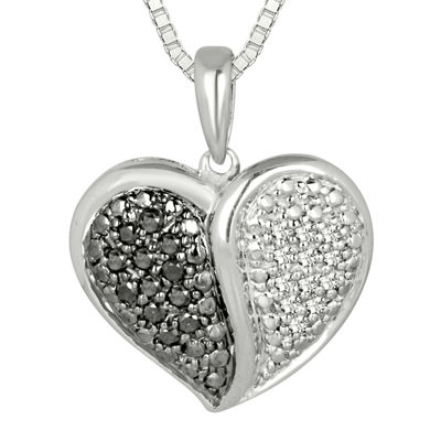 1/5 CT. T.W. White and Color-Enhanced Black Diamond Pendant Necklace