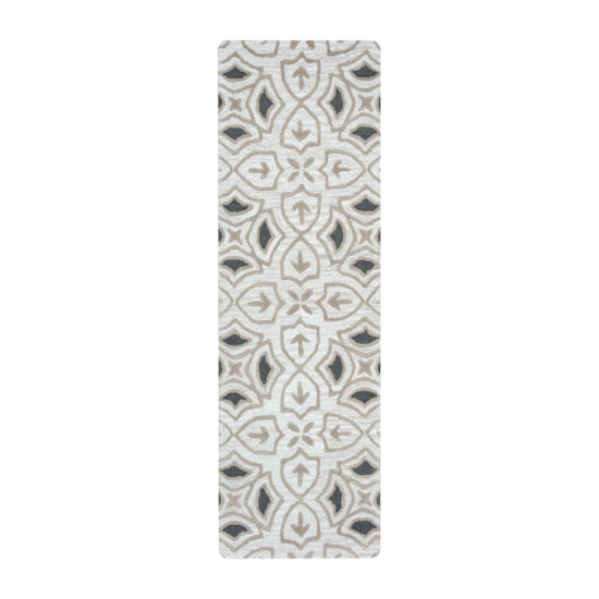 Rizzy Home Arden Loft-Lisbon Corner Collection Laurel Hand-Tufted Medallion Rug