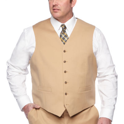 Stafford Khaki Classic Fit Suit Vest - Big & Tall