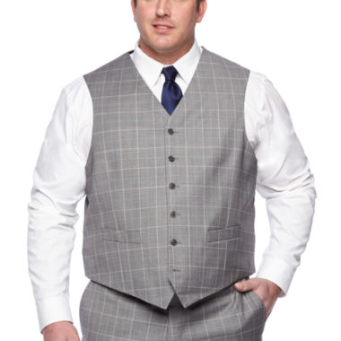 Stafford Gray Blue Windowpane Classic Fit Suit Vest - Big & Tall