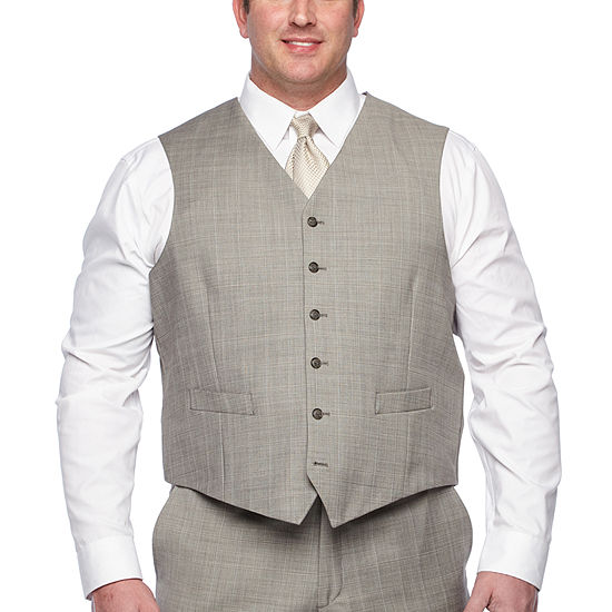 Stafford Checked Classic Fit Suit Vest Big And Tall