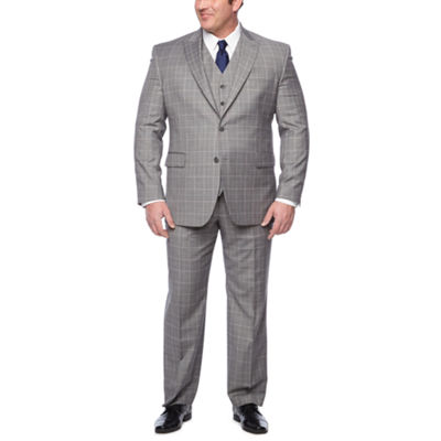 Stafford Travel Gray Blue Double Windowpane Big & Tall Suit Separates