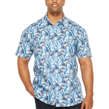 Society Of Threads Short Sleeve Leaf Button-Front Shirt-Big and Tall
