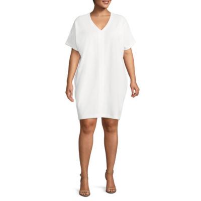 Worthington Short Sleeve Shift Dress - Plus