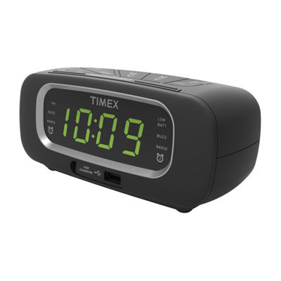 Timex T2351 FM Dual Alarm Clock Radio with USB Charging