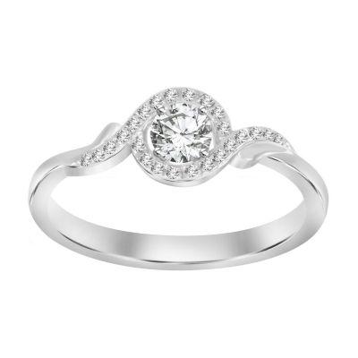 Womens 1/5 CT. T.W. White Diamond 10K White Gold Promise Ring