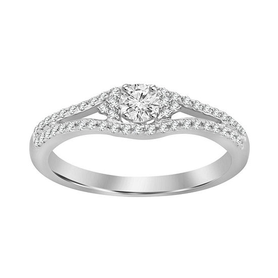 Womens 1/4 CT. T.W. Genuine White Diamond 10K White Gold Promise Ring