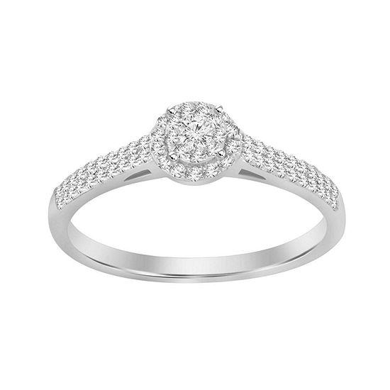 Womens 1/4 CT. T.W. Genuine White Diamond 10K White Gold Promise Ring