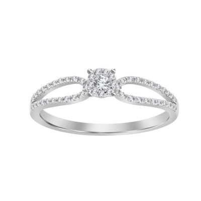 Womens 1/5 CT. T.W. White Diamond 10K White Gold Promise Ring