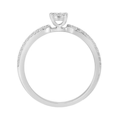 Womens 1/5 CT. T.W. Genuine Round White Diamond 10K Gold Promise Ring