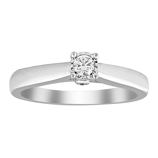 Womens 1/6 CT. T.W. Genuine White Diamond 10K White Gold Promise Ring