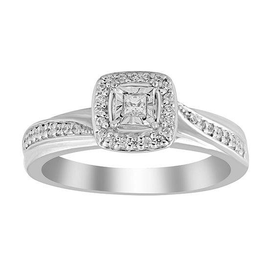 Womens 1/5 CT. T.W. Genuine White Diamond 10K White Gold Promise Ring