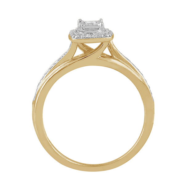 Womens 1/5 CT. T.W. Genuine Princess White Diamond 10K Gold Promise Ring