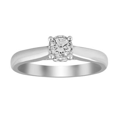 Womens 1/4 CT. T.W. Genuine Round White Diamond 10K Gold Promise Ring