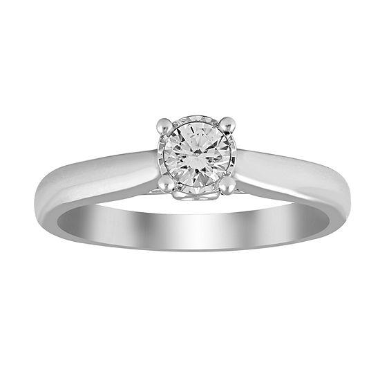 Womens 1 4 Ct Tw Genuine White Diamond 10k White Gold Promise Ring