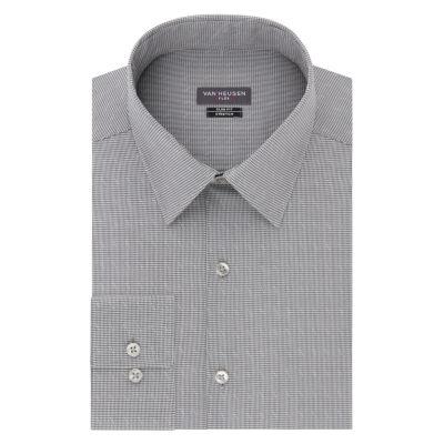 Van Heusen Mens Spread Collar Long Sleeve Wrinkle Free Stretch Dress Shirt - Slim