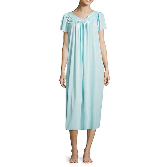 Collette By Miss Elaine Tricot Short Sleeve Long Nightgown