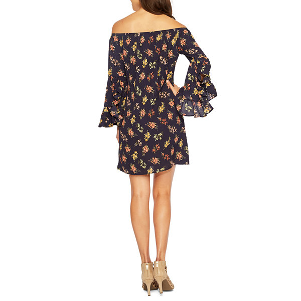 Nicole By Nicole Miller 3/4 Long Bell Sleeve Off The Shoulder Floral Shift Dress