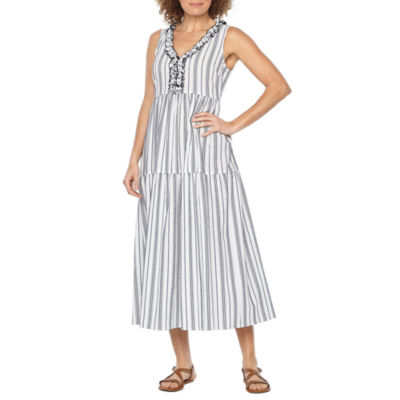 Vivi By Violet Weekend Sleeveless Stripe Maxi Dress