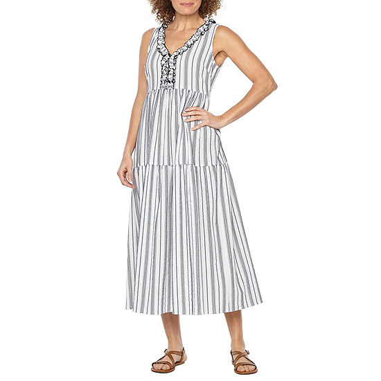 Vivi By Violet Weekend Sleeveless Striped Maxi Dress