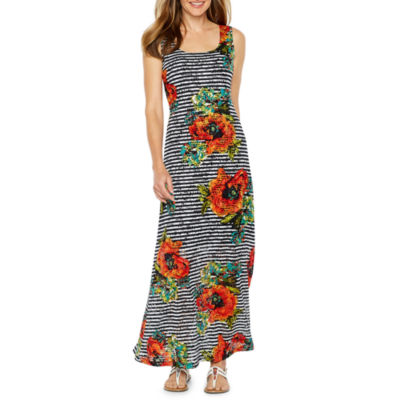Ronni Nicole Sleeveless Floral Stripe Lace Maxi Dress