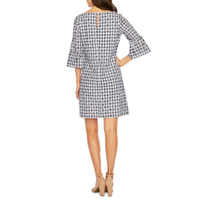 Melrose 3/4 Bell Sleeve Gingham Shift Dress