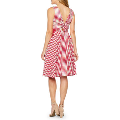 Melrose Sleeveless Checked Fit & Flare Dress