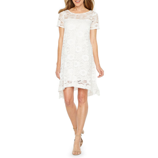 Robbie Bee Short Sleeve Lace Floral Shift Dress