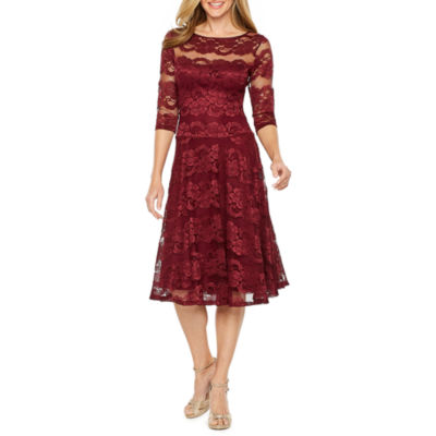 Melrose 3/4 Sleeve Lace Fit & Flare Dress